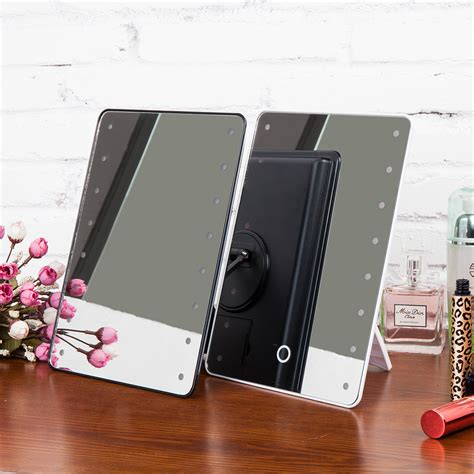 portable makeup mirror with lights portable 16leds touch screen makeup mirror lighted make up