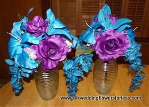 regency purple and malibu blue centerpieces from www With regency purple wedding decorations