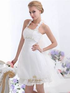 white short halter neck wedding dresses with pearls and With short halter wedding dresses