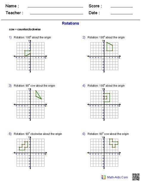 rotation maths worksheet pin on math aids com
