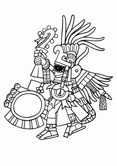 Aztec Maya Incas Coloring Mayans Pages Serpent