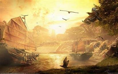 Ancient Background Wallpapers Ship Fantasy Awesome Temple