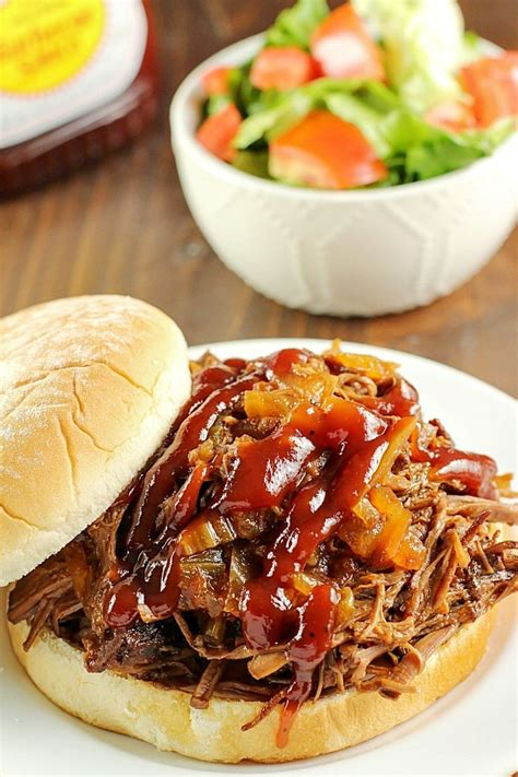 Slow Cooker Shredded Beef Sandwiches  Yummy Healthy Easy
