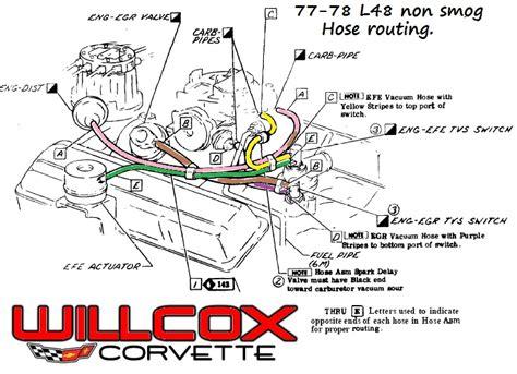 1986 Corvette Smog Diagram 1977 1978 corvette corvette engine hose routing non smog