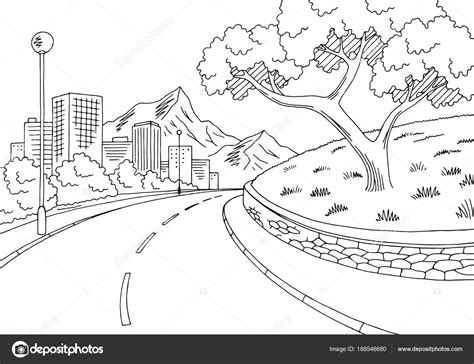 rua estrada grafico preto branco cidade montanha paisagem