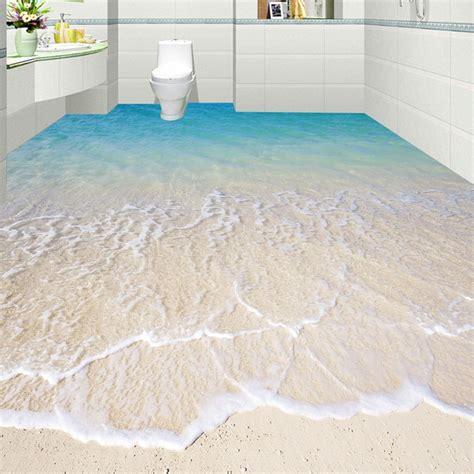 Custom  Adhesive Floor Mural Wallpaper Modern Beach