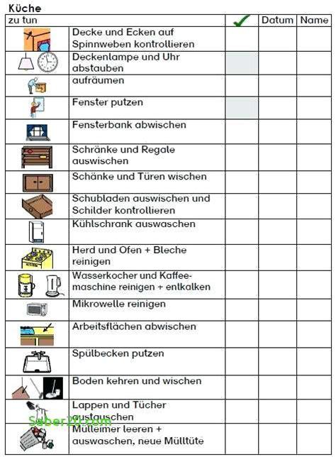 Wohnung Aufräumen Checkliste by Nett Reinigungsplan K 252 Che Vorlage Kostenlos Bildergalerie