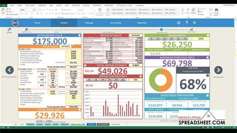 house flipping spreadsheet   rehab analyzer