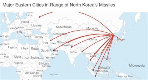 korea fires ballistic missile as map shows cities at