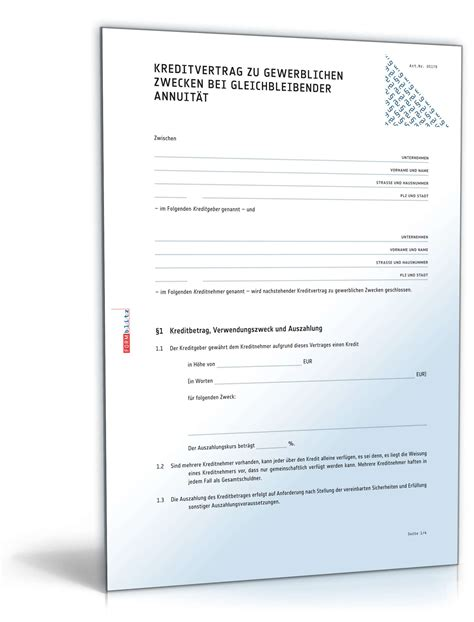 kreditvertrag gewerblich bei gleichbleibender annuitaet
