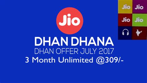 jio dhan dhana dhan new data plans offer free calling with 1gb 4g data every day at rs 309