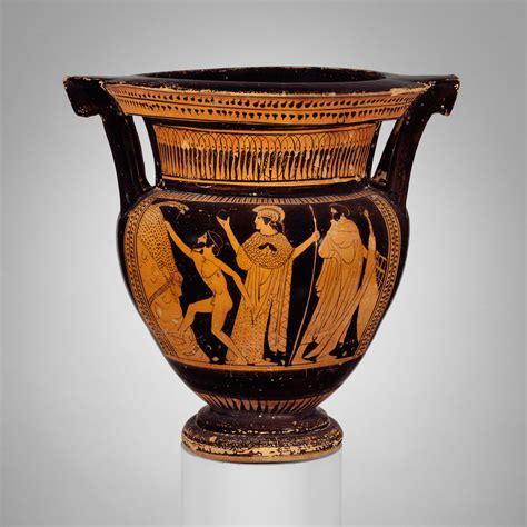 terracotta column krater bowl  mixing wine  water
