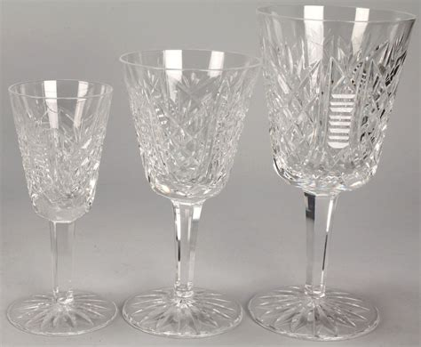 Waterford Crystal Stemware, Clare Pattern, 19 Pcs
