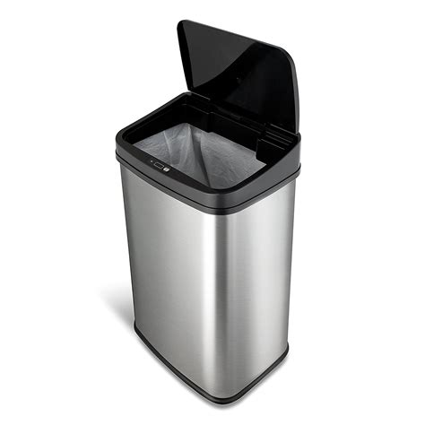 trash stainless ninestars steel touchless gal cans bag holder dzt sensor motion automatic oval depot trashcan recycling cleaning custom homedepot