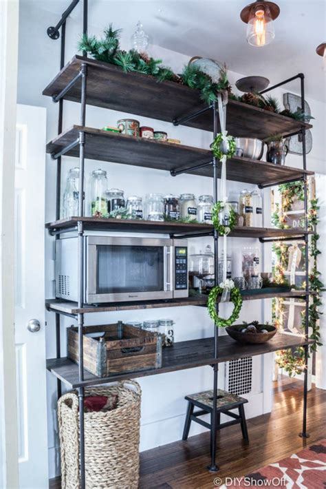 pipe shelves kitchen diy industrial pipe table tempting thyme