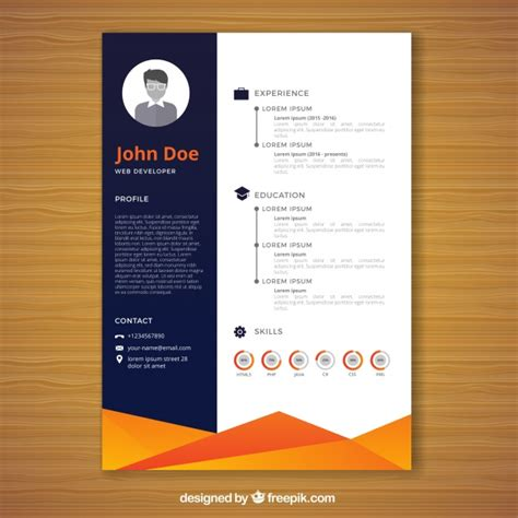Resume templates and examples to download for free in word format ✅ +50 cv samples in word. Orange and blue resume template | Free Vector
