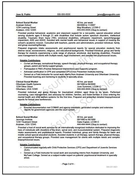 Requirements For Federal Resume by Federal Social Worker Resume Writer Sle The Resume Clinic