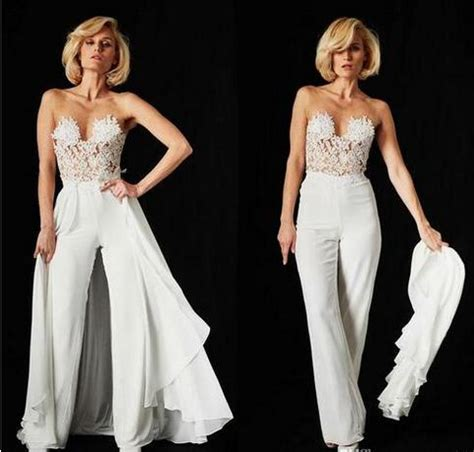 lace jumpsuit wedding dresses detachable train  sexy