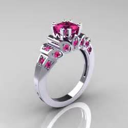 pink engagement ring classic 10k white gold 1 23 ct princess pink sapphire engagement ring r216p 10kwgps