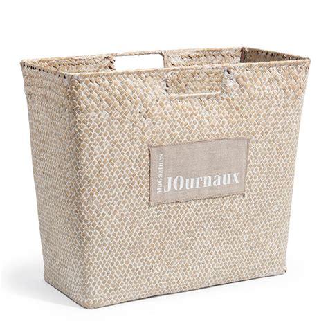 accessoire deco chambre bebe porte journaux en fibre végétale blanc maisons du monde