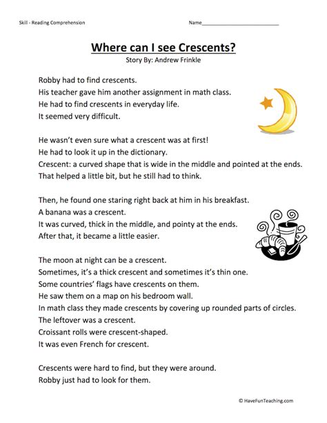 Third Grade Reading Comprehension Worksheet  Where Can I See Crescents?