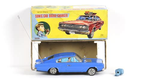 Sonic Car Dodge Charger Tin Toy