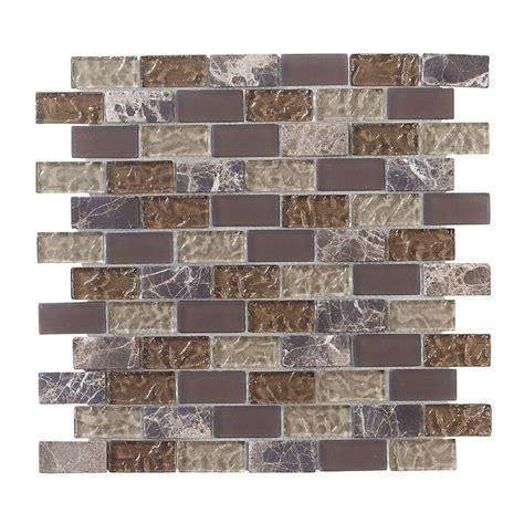 jeffrey court emperador brick 12 in x 12 in x 8 mm glass