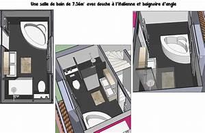 une salle de bain de 7m2 avec douche a l39italienne et With plan salle de bain douche et baignoire