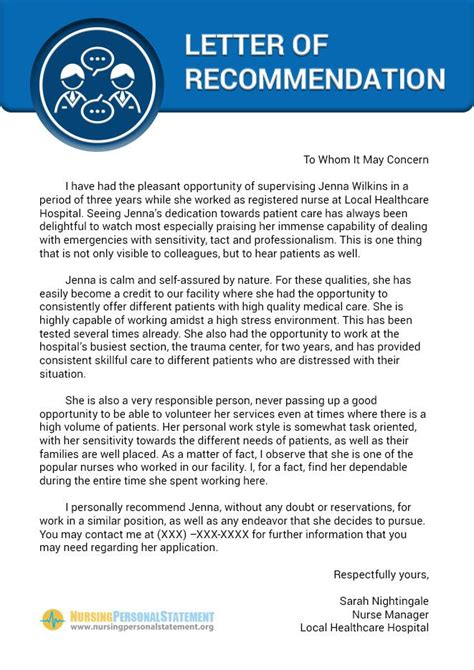 nice   nursing letter  recommendation