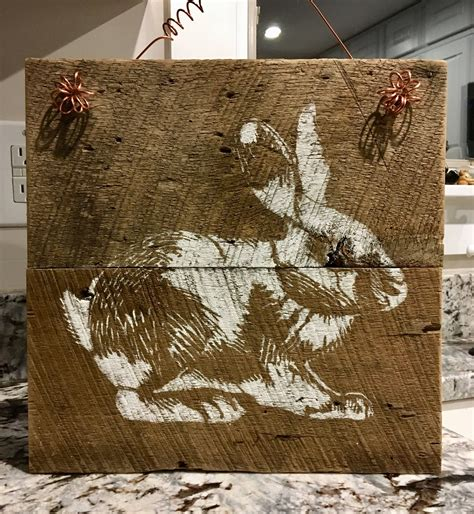 rustic barnwood rabbit easter sign barn wood signs