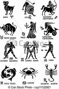 Vector Illustration of Zodiac Signs pictures of the twelve signs of the Zodiac csp11122921