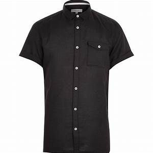 River island Black Linen-blend Short Sleeve Shirt in Black ...
