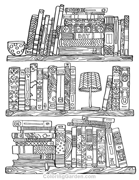 bookshelf adult coloring page