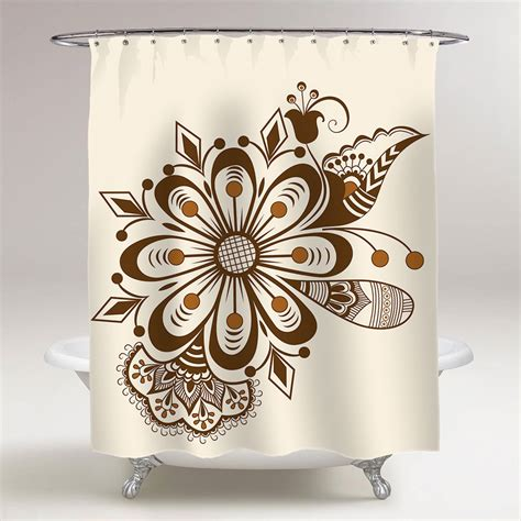 abstract floral indian mehndi pattern bathroom shower curtain