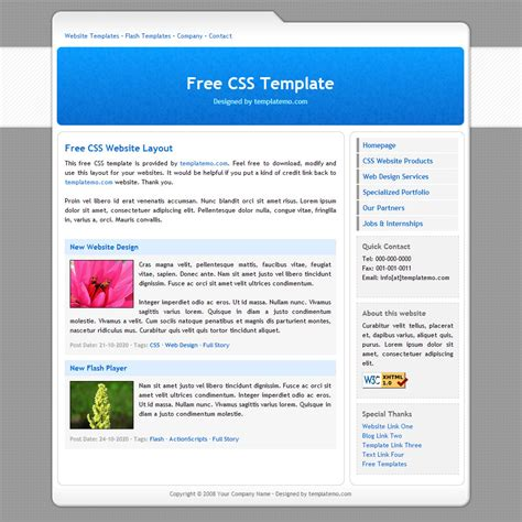 website templates free html with css free template 007 simple blue