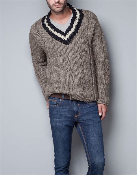 sweaters for zara chunky sweater in for lyst