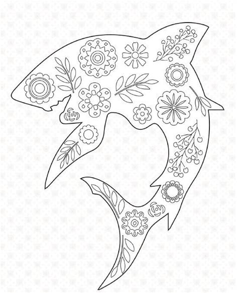 floral shark coloring page favecraftscom
