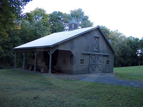 Stall Barn With 8′ X 30′ Open Shed Overhang, Custom Cupola