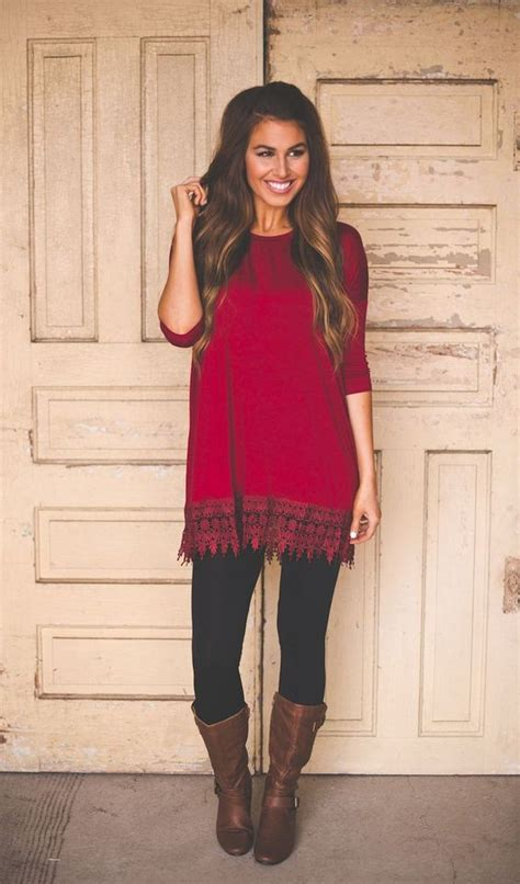 Red tunic Leather knee high boots and Black leggings on Pinterest