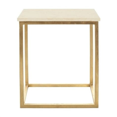 gold and marble end table safavieh noel marble accent table in ivory and gold fox2503a