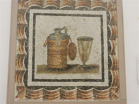 cuisine rome antique still with bottle and glass mosaic period style