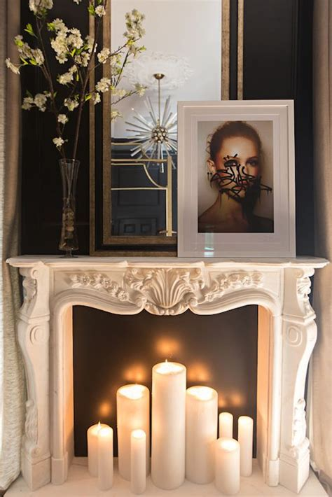 adorable fireplace candle displays   interior