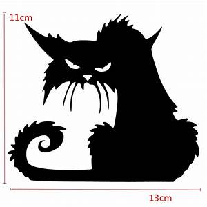 Halloween Scary Black Cat Glass Sticker Halloween Decor at ...