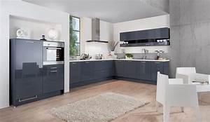 Trend einbaukuche almira blaugrau hochglanz kuchen quelle for Küche hochglanz