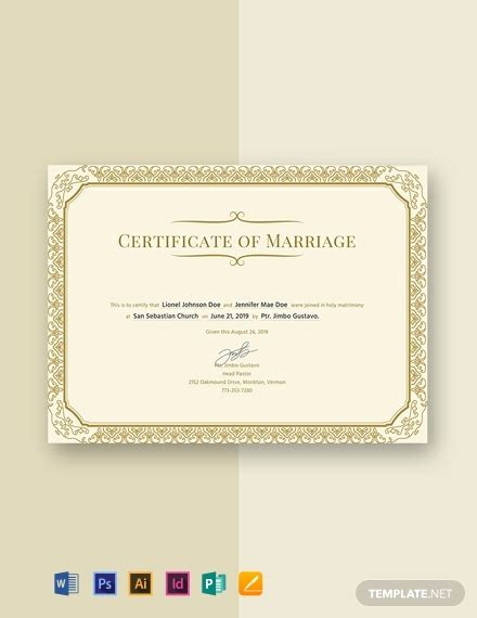 marriage certificate template word psd indesign