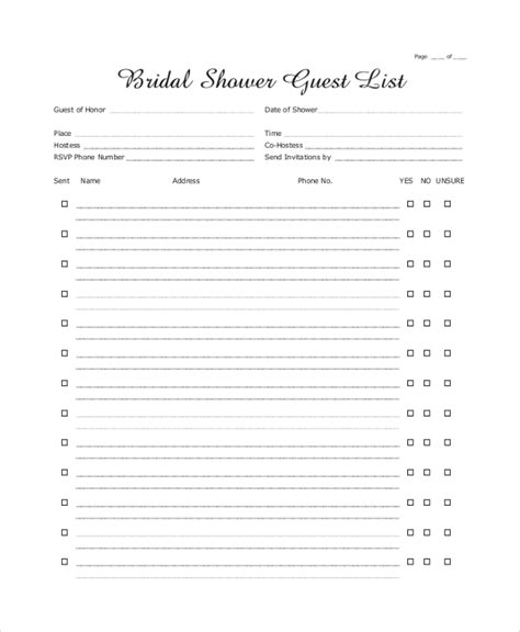 sample wedding guest list  documents   word excel
