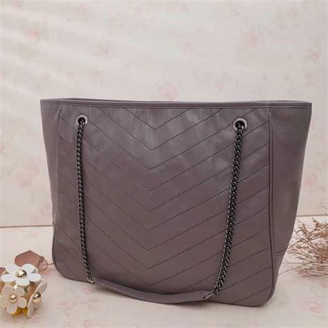 saint laurent large niki shopping tote bag  fog vintage crinkled  quilted leather
