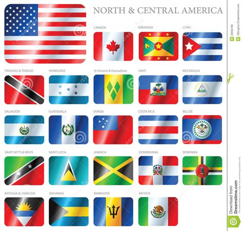 Flags North & Central America Vector Illustration ...