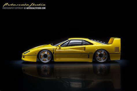 Klassiekers als de ferrari f40 en de porsche 911s hebben een imponerend uiterlijk, maar worden nog indrukwekkender als je ze onderhuids mag bekijken. MZG21Y Ferrari F40 yellow (Giallo Modena) | autoscale studio オートスケール・スタジオ