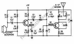 simple 9v wireless microphone fm transmitter circuit With most simple fm transmitter circuit diagram electronics circuits